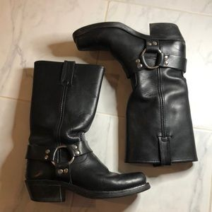 Frye black leather harness boots.  Awesome boots!